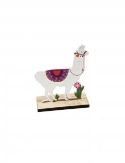Lama-Tischdeko aus Holz bunt 10 x 4,2 x 13 cm