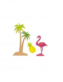 Exotisches Konfetti-Set für die Sommerparty Flamingo, Palme, Ananas 9-teilig bunt