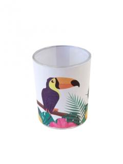 Kerzenglas mit Tukan-Motiv bunt 6,5x5,5cm
