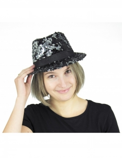 Borsalino Wendepailetten Hut schwarz-silber