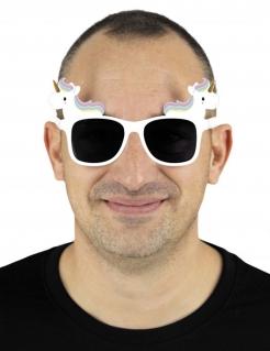 Einhorn-Brille Accessoire weiss-schwarz