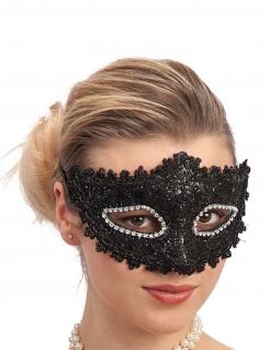 Augenmaske mit Spitze und Strass Accessoire schwarz