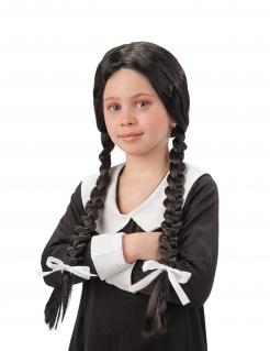 Perücke mit zwei Zöpfen für Mädchen Accessoire schwarz-weiss