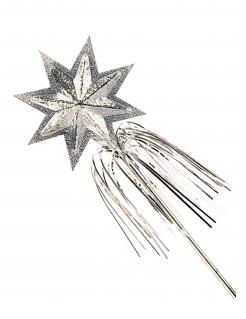 Glitzernder Stern-Zauberstab für Feen und Prinzessinnen silber 45cm