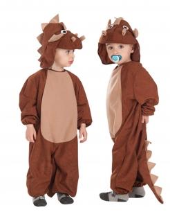 Dinosaurier-Kostüm für Kinder Triceratops braun
