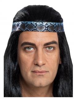 Winnetou™-Haarband für Herren Accessoire zum Fasching blau-silber