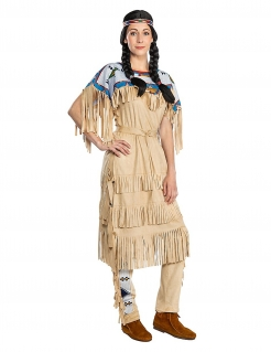 Nscho-tschi™-Kostüm für Damen Winnetou™ Indianerin-Kostüm für Damen Fasching braun-blau
