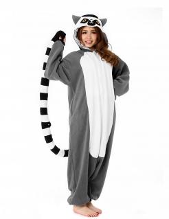Lemur-Kostüm Kigurumi™ grau-weiss-schwarz