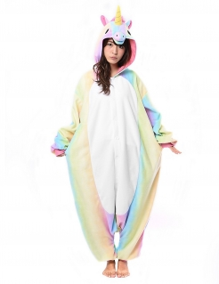 Einhorn-Kostüm Kigurumi™ Regenbogen-Einhorn bunt
