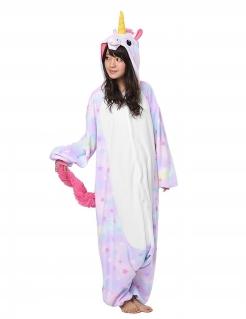 Einhorn-Kostüm mit Sternen Kigurumi™ Faschingskostüm rosa-weiss
