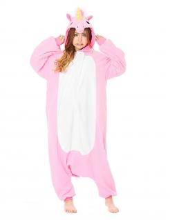 Einhorn-Kostüm für Erwachsene Kigurumi™ Faschingskostüm rosa-weiss