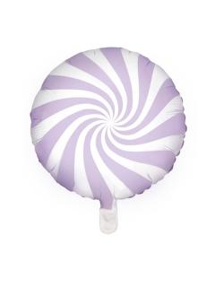Lollipop-Aluminiumballon violett-weiß 45 cm