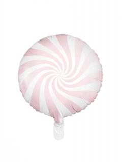 Luftballon Aluminiumballon Ballon Lolli Lutscher Candy rosa-weiss 45 cm