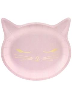 Originelle Katzen-Teller Partyteller 6 Stück rosa 22x20cm