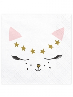 Katzen-Servietten Katzengesicht mit Sternen Katzengesicht Sterne 20 Stück weiss 33 x 33 cm