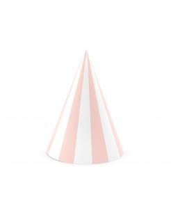 Partyhüte für verschiedene Anlässe 6 Stück rosa-weiss 10 x 16 cm