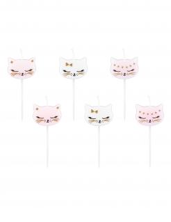 Kätzchen-Kerzen 6 Stück weiss-rosa-gold 2 cm