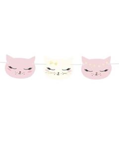 Girlande aus Pappe mit Katzen weiss-rosa 140 x 8,5 cm