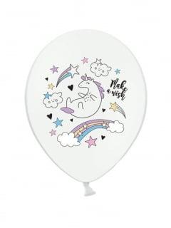 Einhorn-Ballons aus Latex 6 Stück weiss-bunt 30 cm