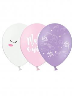 Einhorn-Luftballons 6 Stück violett-rosa-weiss