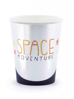 Space Adventure Pappbecher 6 Stück silber-schwarz-orange 200 ml