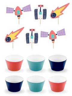 Weltraum-Set Cupcake-Behälter und -Dekorationen 12-teilig bunt