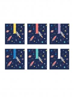 Weltall-Geschenktüten Raketen Planeten Sterne Weltraum 6 Stück blau-bunt 13 x 14 cm