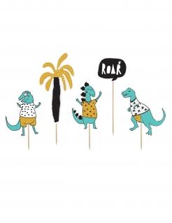 Dinosaurier Kuchen-Deko 5-teilig bunt 15,5 x 20 cm