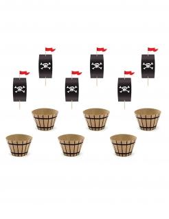 Muffin-Förmchen mit Piraten-Flaggen Piraten-Deko 12 teilig schwarz-braun-rot