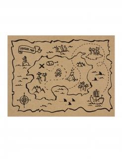 Piraten-Platzset Deckchen Schatzkarte Deko 7 Stück 40x30cm