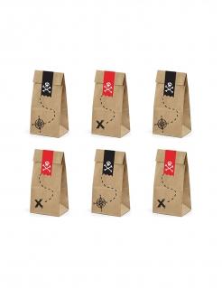 Piraten-Papiertüten 6 Stück braun-rot-schwarz 8cm x 18 cm x 6cm