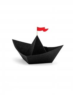 Papierschiffe Piraten-Tischdeko 6 Stück schwarz-rot