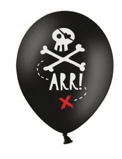 Piraten-Luftballons Deko für Mottoparty 6 Stück schwarz-weiss-rot 30 cm