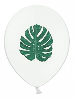 Tropen-Luftballons Tropen-Deko 6 Stück weiß-grün 30 cm