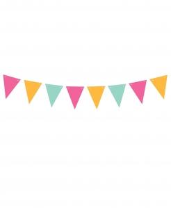 Girlande aus Karton Partydeko pink-orange-türkis 1,3m