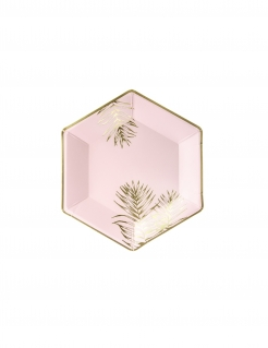 Tropical Pappteller Tischdeko 6 Stück rosa-gold 23cm