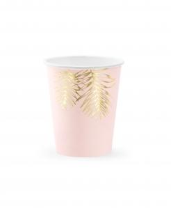 Sommerparty-Becher Palmenblätter-Motiv 6 Stück rosa-gold 220ml