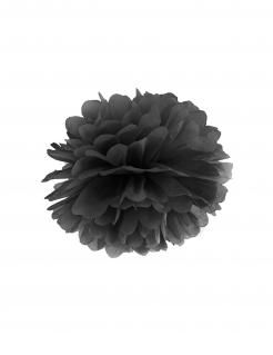 Hängender Pompon Hängedeko schwarz 35 cm