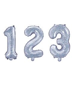 Zahlen-Ballon verschiedene Ausführungen wählbar Geburtstag-Deko Silvester-Deko silber 35 cm