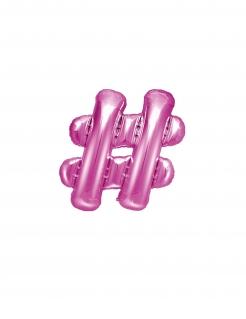 Hashtag-Luftballon Partydeko pink 35 cm