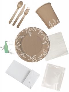 Ökologisches Picknick-Set für 4 Personen braun-weiss