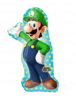 Luigi™-Ballon Folienballon Super Mario™ grün-blau 50x96cm