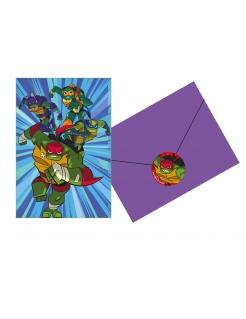 Ninja Turtles™-Einladungskarten Partydeko 8 Stück bunt