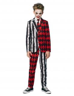 Schickes Horrorclown-Kostüm für Teenager Opposuits™ schwarz-weiss-rot