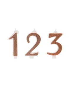 Geburtstagskerze Kerze Zahl rotgold 13 cm