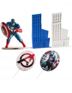 Captain America™-Kuchendeko 5-teilig blau-weiss-rot