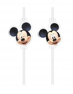 Mickey™ Strohhalme 4 Stück schwarz-weiss-beige