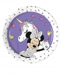 Minnie Maus und Einhorn™-Teller klein Tischdeko 8 Stück lila 20cm