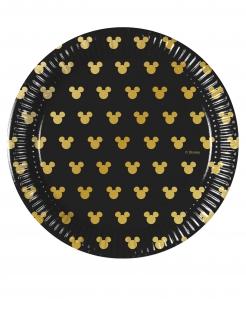 Mickey Maus™-Teller Tischdeko klein 8 Stück schwarz-gold 20cm