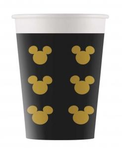 Kleine Mickey Gold™ Pappbecher 8 Stück schwarz-gold 160 ml